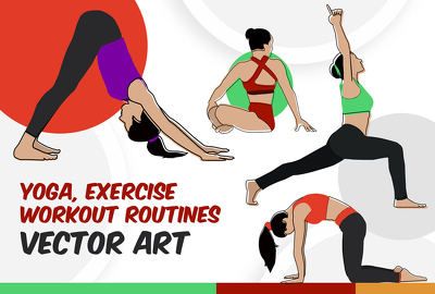Create people, medical, yoga, workout, exercise vector line art