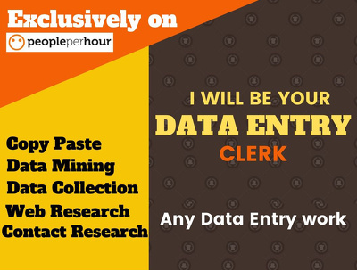 Do any kind of data entry, web research work, 100 entries