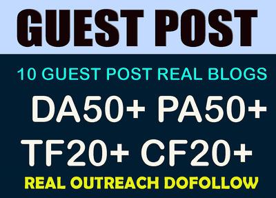 Write & guest post on 10 Websites - DA50+ PA50+ TF20+ CF20+