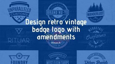 Design retro vintage badge logo with amendments
