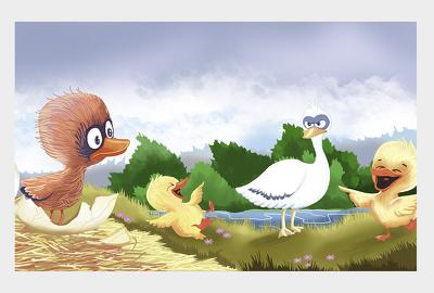 Create handdrawn watercolor children book illustrations