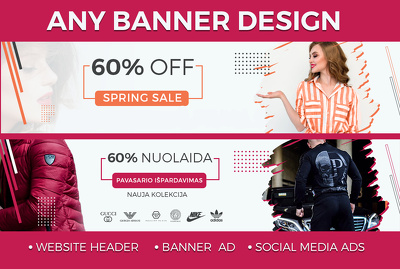 Design any web banner, header, cover