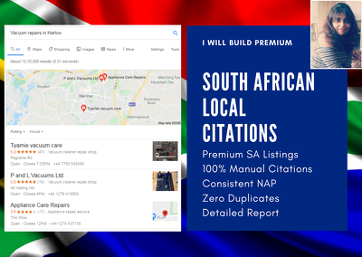 Create 60 Premium South African Local Citations