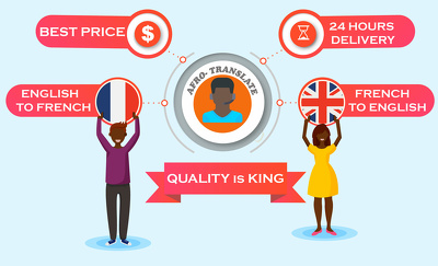 Translate 500 words from English to French or vice versa in 6hrs