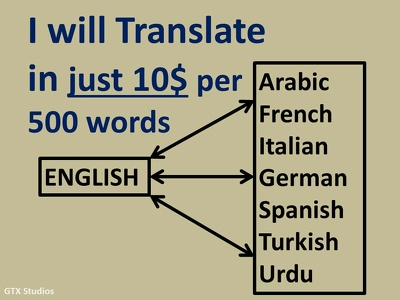 Translate english to other languages for $10 in one day time.