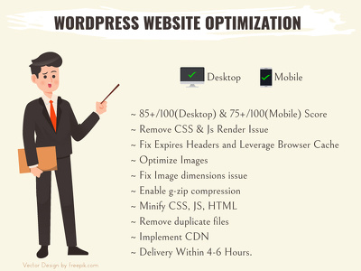 Optimize WordPress website pages peed scores