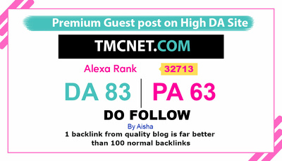 Publish guest post in Tmcnet - Tmcnet.com DA 83 Do-Follow