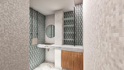 Design bathroom+HQ renders+dimension drawings