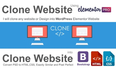 clone any website,Clone design into Exactly Similar Website