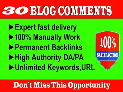 Provide 30 HQ Niche Relevant Blog Comments Backlinks