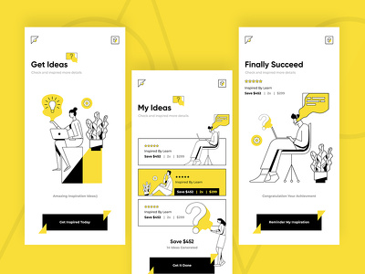 Design 4 screen  ui/ux for mobile app and website