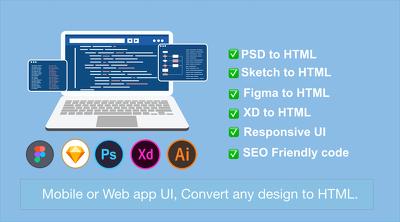 Convert any psd ai sketch design into responsive HTML template