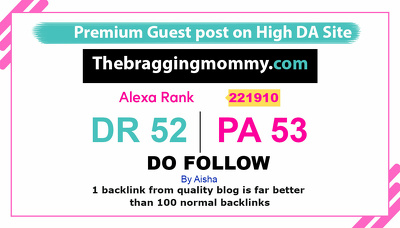 Guest post on Thebraggingmommy.com Family website – DR52