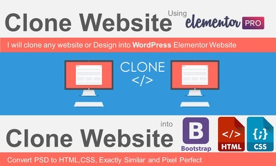 clone any website or Design to Elementor, HTML,CSS, Bootstrap