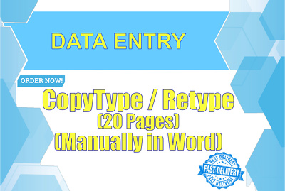 Copytype or ReType 20 pages into word within 24 hours