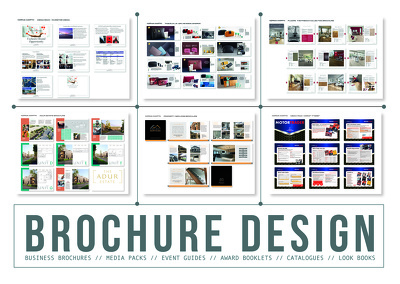 Design a high-end, professional, 8 page brochure