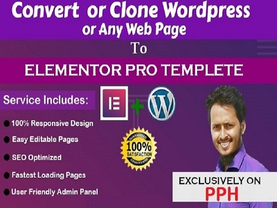 Clone 1 page wordpress or any site to elementor template