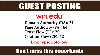 Write & Publish Guest Post on WPI, WPI.edu DA71 - Dofollow Links