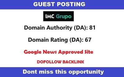 Write & guest post on DA 81 Google News Approve Site