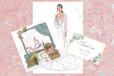 Create  set of three wedding illustrations.