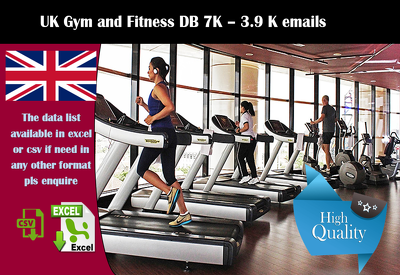 geniue Database of UK Gym and Fitness list 7K + 3.9K emails