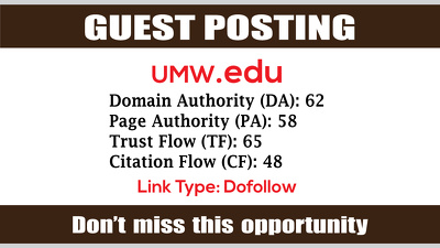 Write & Publish Guest Post on UMW, UMW.edu DA62 - Dofollow Links