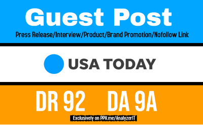 write and Publish USAToday Guest Post or Press Release DR92 Site