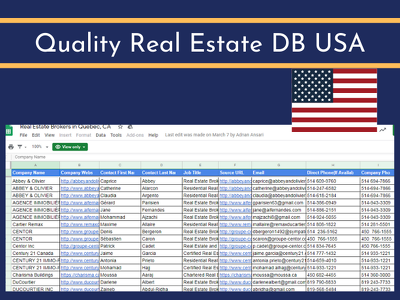 get you Quality Real Estate DB USA (100 leads)
