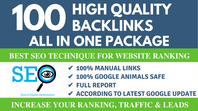 100 Quality Manual Backlinks - ALL IN ONE PACKAGE
