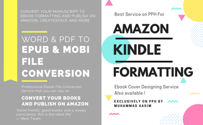 format book for amazon kindle epub and mobi