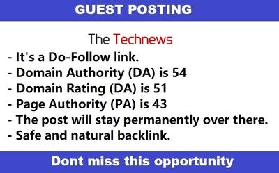 Publish Guest Post on Thetechnews - Thetechnews.com - DA54