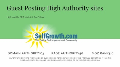 Publish a guest post with Do-follow link on SelfGrowth DA63
