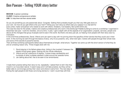 Help you tell your story better with a 1on1 storytelling session