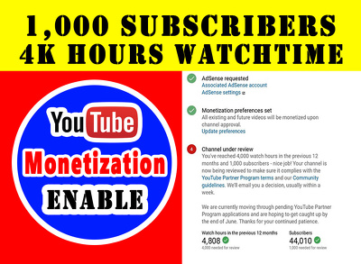 Give 4k hours watchtime + 1k YouTube subscriber for monetization