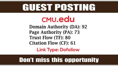 Write & Publish Guest Post on CMU, CMU.edu DA92 - Dofollow Links
