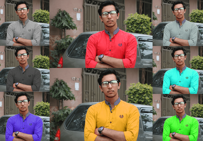 Edit photos including changing shirt's color