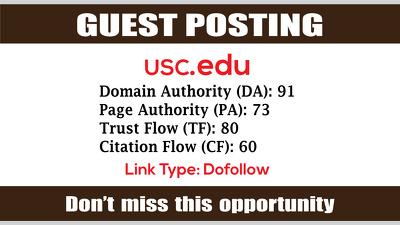 Write & Publish Guest Post on USC, USC.edu DA91 - Dofollow Links