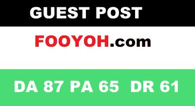 publish a Guest Post on fooyoh - fooyoh.com - DA62