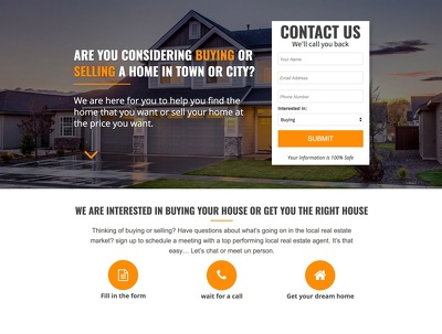 Landing page design for real estate business