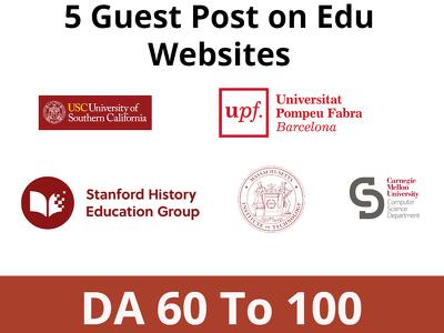 Do 5 edu guests posts on edu websites DA 60 To 100