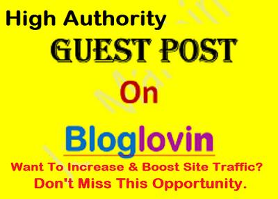 Provide guest post on high authority website bloglovin.com