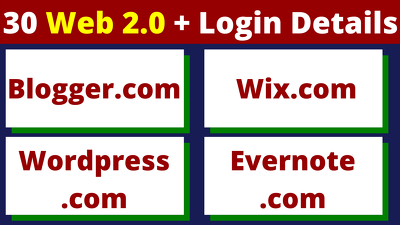 create 30 Web 2.0 With Login Credentials & Quality Content