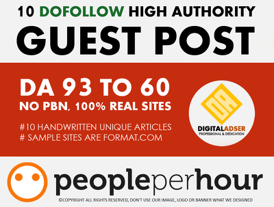 Write Publish 10 dofollow Authority Guest Post DA[93-60]-UPDATED