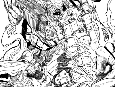 illustrate multiple figures W/ background in Comic book style