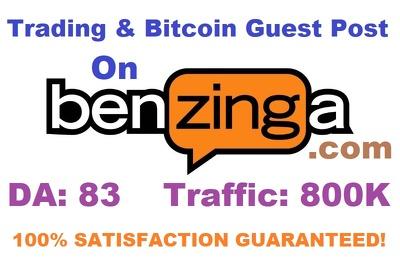 Publish Trading & Bitcoin Guest Post On Benzinga.com DA 83