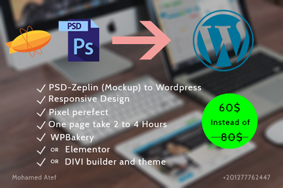 Develop one page from PSD or Zeplin (Mockup) to Wordpress