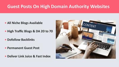 Publish your Guest Post on DA 70 Websites