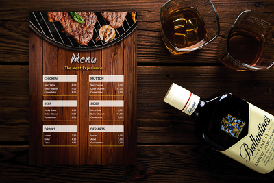 Design an eye catching Print Ready modern restaurant menu