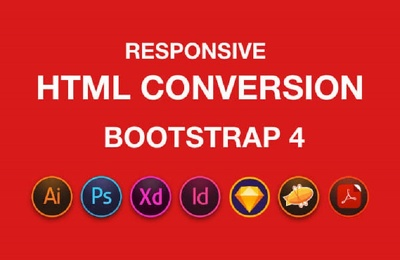 Convert PSD to HTML, XD to HTML, Responsive Bootstrap