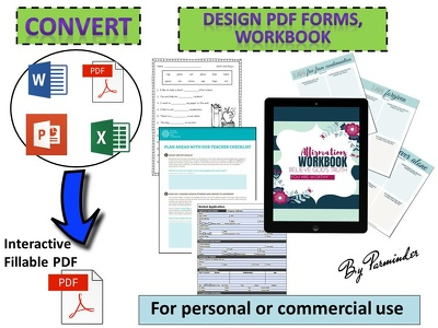 Create fillable PDF form/Workbook upto 10 pages in 24 hours